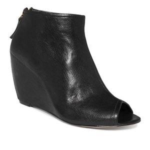 Nine West Blaze Leather Wedge Peep Toe Bootie